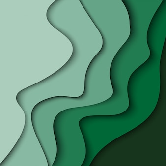 Abstract green wave background with paper cut shapes. vector design layout for business presentations