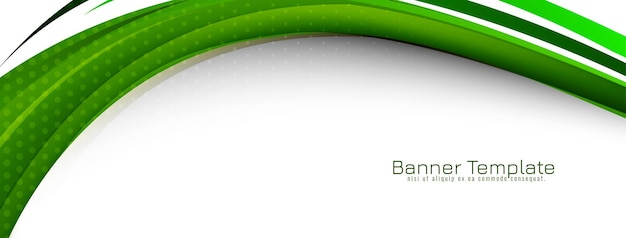 Abstract green wave style design banner template vector Free Vector
