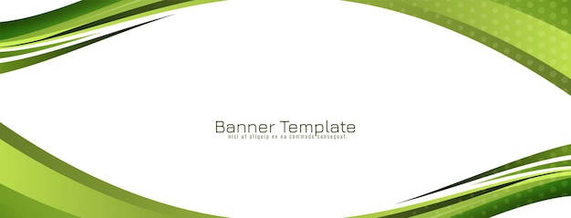 Abstract green wave style design banner template vector