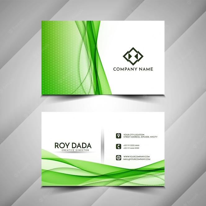 Modern Blue Wavy Business Card Design