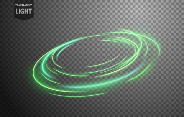 Abstract green wavy line of light