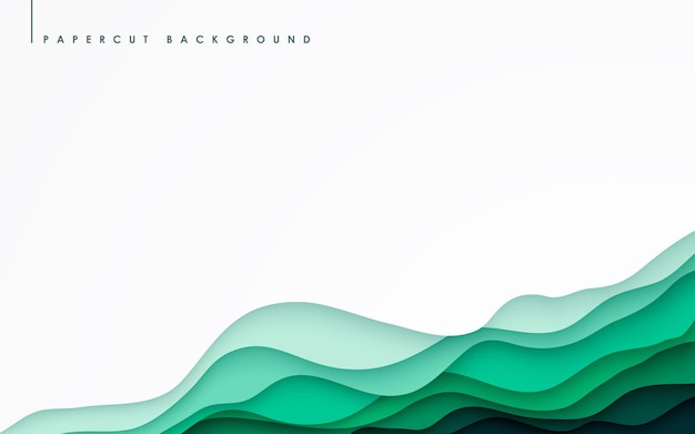 Abstract green wavy overlap layers background