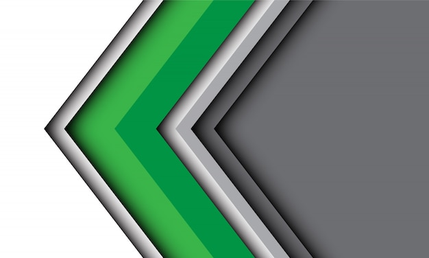 Abstract green white arrow direction with grey modern futuristic technology background.