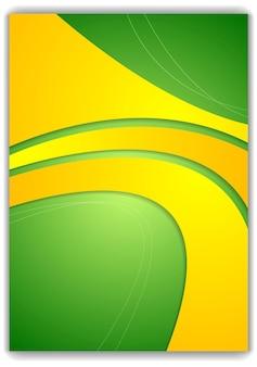 Абстрактный зеленый желтый волнистый дизайн флаера. векторный фон