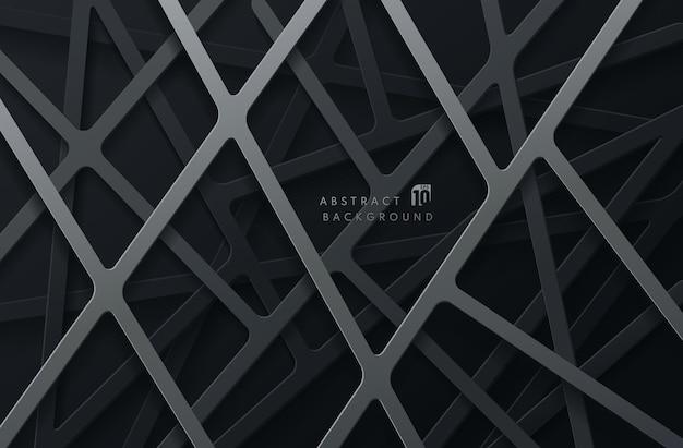 어두운 배경에 추상 회색과 검은 색 기하학적 라인 오버랩 레이어