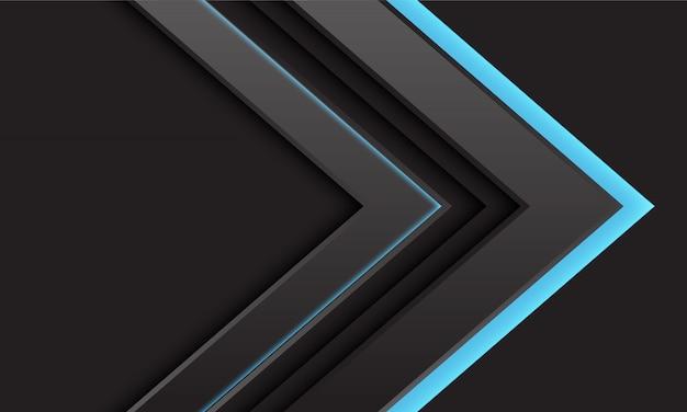 Abstract grey arrow blue light direction on dark background.