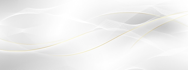 Abstract grey and gold banner with dynamic waves.