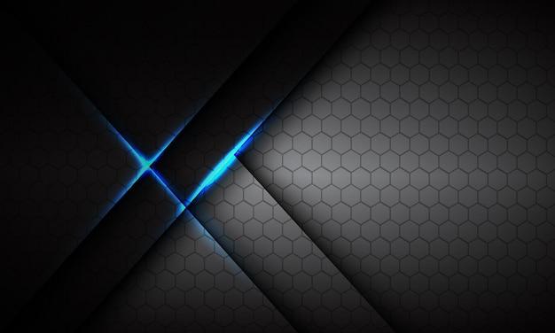 抽象的な灰色のメタリックブルーライト六角形メッシュ高級未来技術背景ベクトル