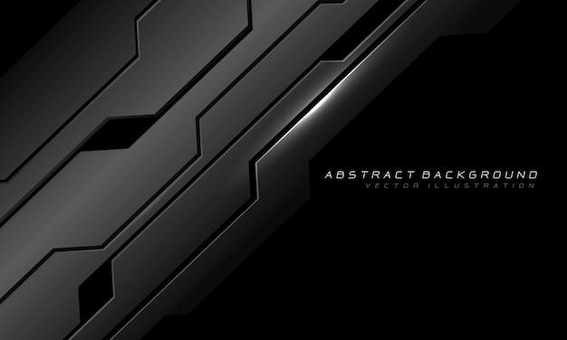 黒い空白デザイン現代の未来的な技術と抽象的な灰色の金属サイバー回路。