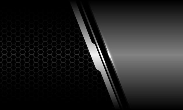 Abstract grey metallic cyber geometric black hexagon mesh design luxury futuristic technology vector