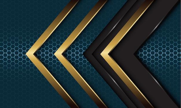 モダンなダークブルーのスチール六角形メッシュの背景に抽象的な灰色のメタリックゴールドの矢印の方向が重なっています