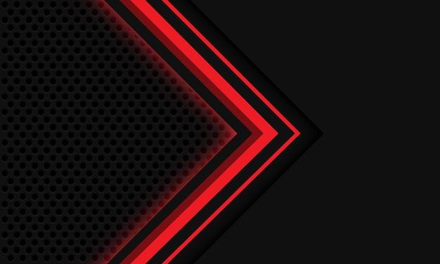 抽象的な灰色の赤い光矢印サークルメッシュデザインモダンで豪華な未来技術の背景