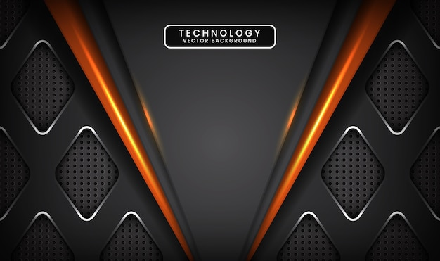 Abstract grey technology background with orange light effect on dark space