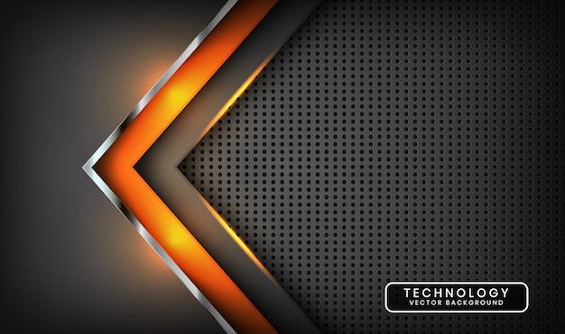 Абстрактный серый фон технологии с оранжевым световым эффектом на темном пространстве