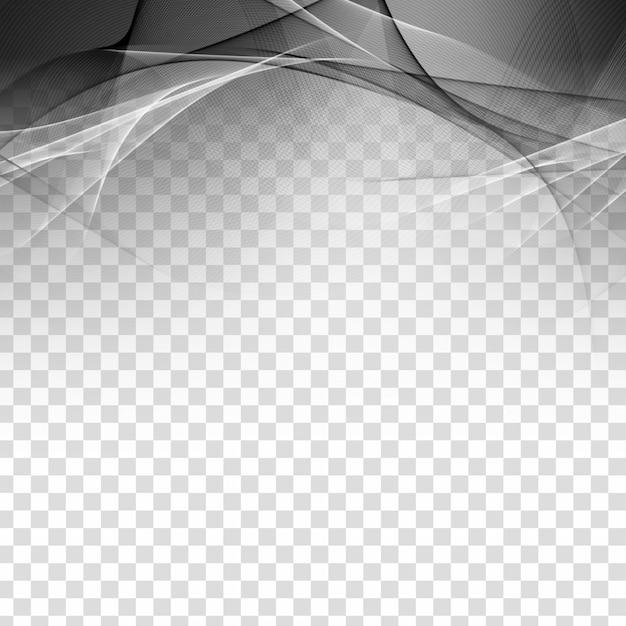 Abstract grey wave elegant transparent background