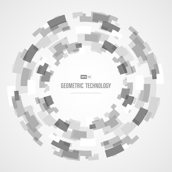 Abstract grey and white technology square circle color of futuristic background