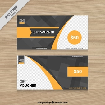 Abstract grey and yellow gift vouchers