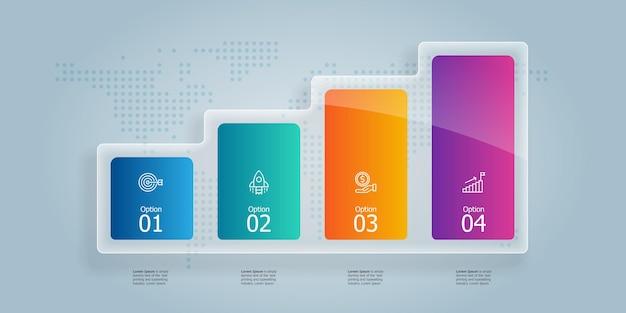 Абстрактный график роста горизонтальной инфографики элемент презентации с бизнес-иконки 4 шага векторные иллюстрации фона