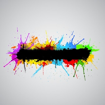 Abstract grunge background with colourful paint splashes