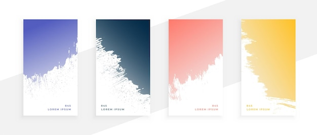 Abstract grunge banners set in four colors
