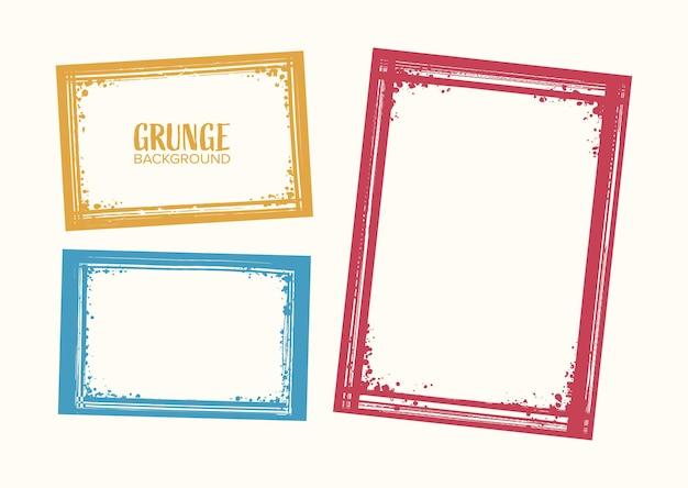 Abstract grunge border frame set