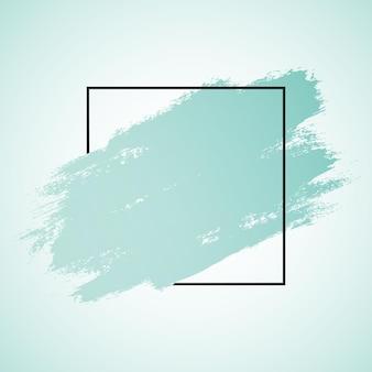 抽象的なグランジブラシストロークと黒の境界線