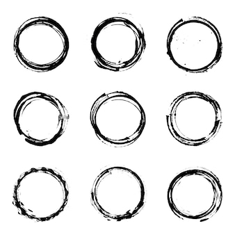 Abstract grunge circle vector set