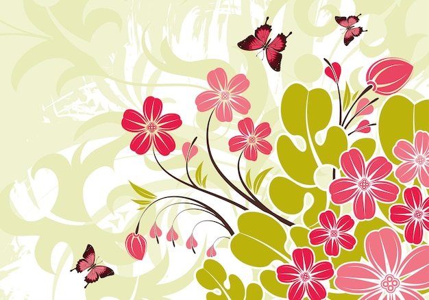 Abstract grunge flower background with butterfly, element for design, vector illustration