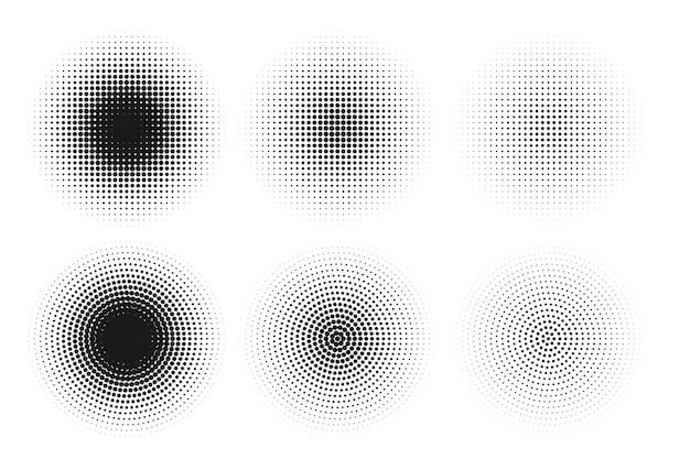 抽象的なグランジハーフトーンサークルテクスチャ背景デザイン