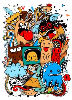 Abstract grunge urban pattern with monster character, super drawing in graffiti style