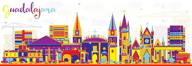 Abstract guadalajara mexico city skyline with color buildings. vector illustration. business travel and tourism concept with historic architecture. guadalajara cityscape with landmarks.