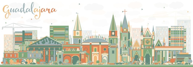 Abstract guadalajara skyline with color buildings. vector illustration. business travel and tourism concept with historic architecture. image for presentation banner placard and web site.