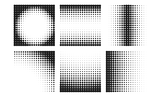 Abstract halftone background collection in different styles