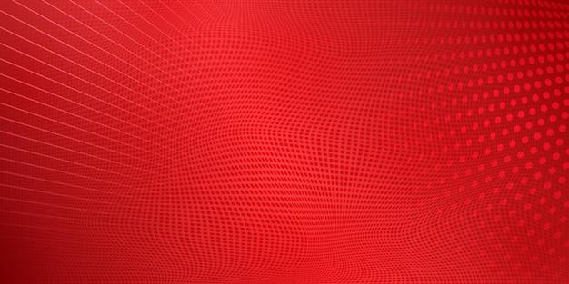 赤い色の点と線で作られた抽象的なハーフトーンの背景