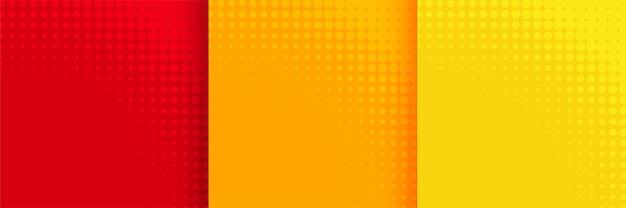 빨간색 주황색과 노란색 색상으로 설정된 추상 하프 톤 배경