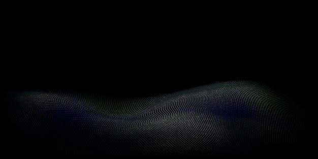 검정에 밝은 파란색 점으로 만든 물결 모양의 표면이 있는 추상 하프톤 배경