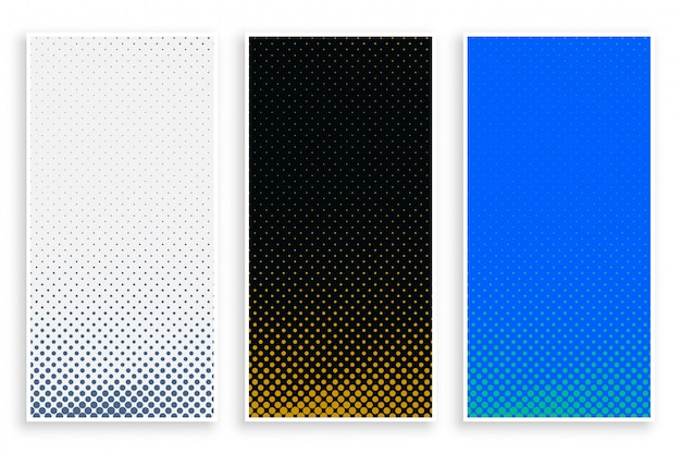 Abstract halftone banners in three colors