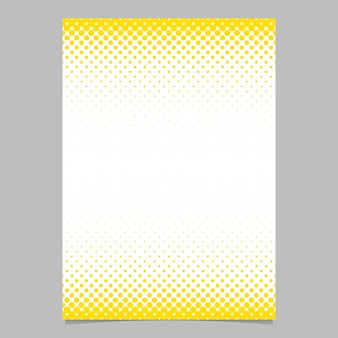 Abstract halftone circle pattern page, brochure template - vector flyer background design with yellow dots