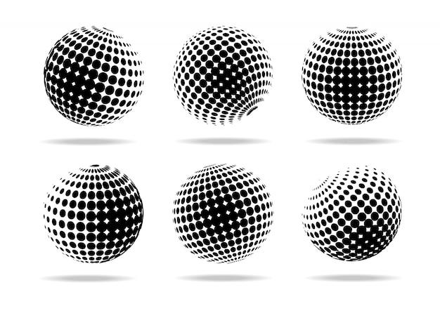 Abstract halftone circle set