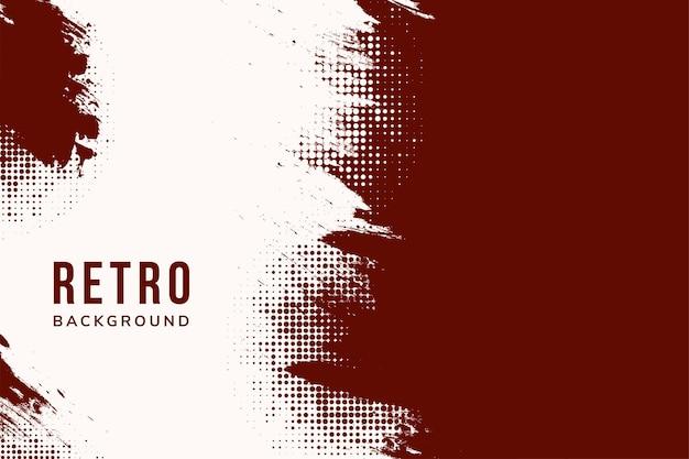 赤い色のプレゼンテーションポスターの抽象的なハーフトーンドット点線の背景スペースとレトロなスタイル