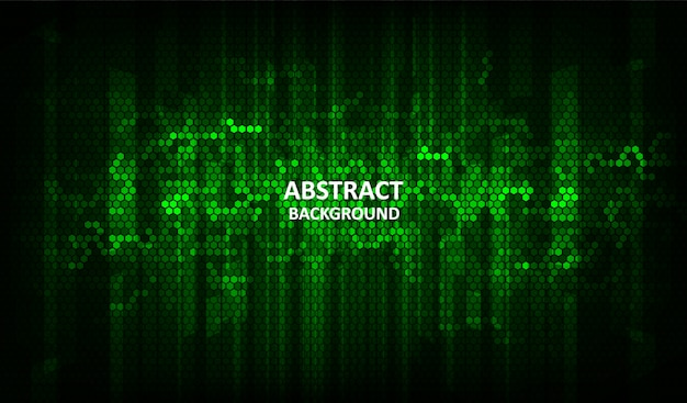 The  abstract halftone green background consists of different hexagon.