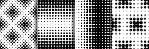 Abstract halftone retro seamless patterns set