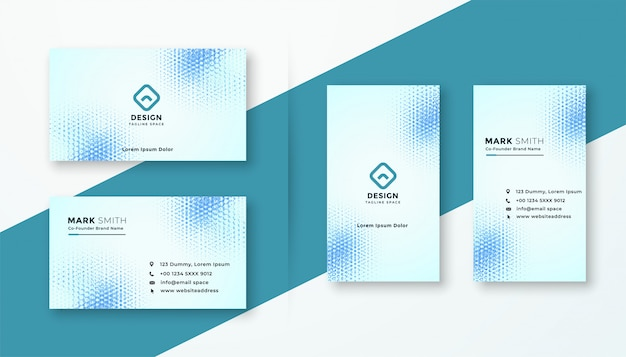 Abstract halftone style modern business card template set