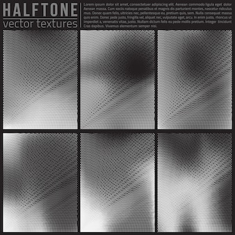 Abstract halftone textures vector set