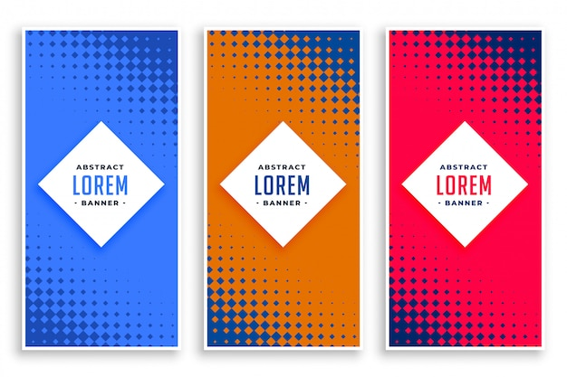 Abstract halftone vertical banners set