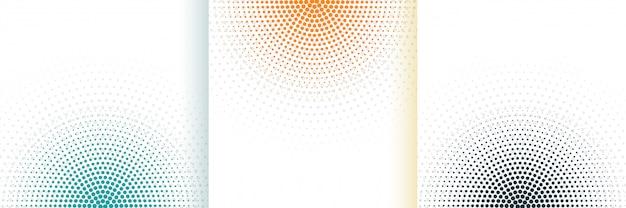 세 가지 색상으로 설정 추상 하프 톤 흰색 배경