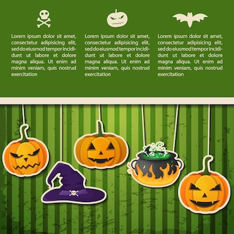 Abstract halloween holiday greeting poster with text and hanging pumpkins witch hat cauldron on green background