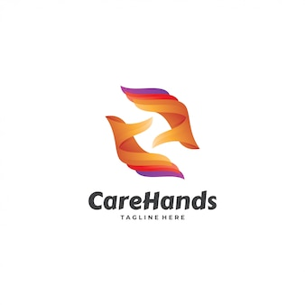 Abstract hand care caring logo