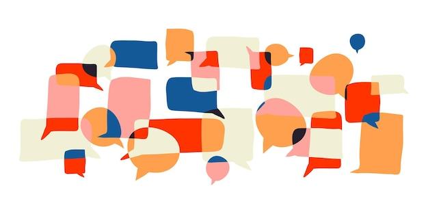 抽象的な手描きのbubleテキストの背景おしゃべりの概念