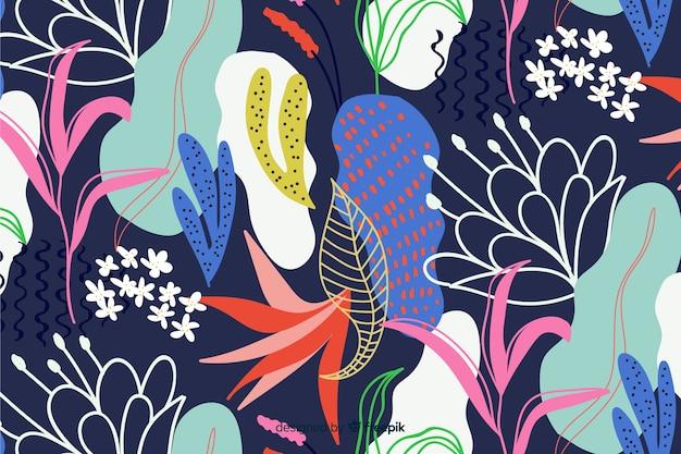Абстрактная рука рисовать цветочный фон